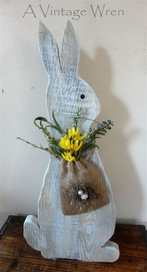 Easter Wooden Decorations by Rustic Easter Bunny Wooden Bunny Rustic Decor
