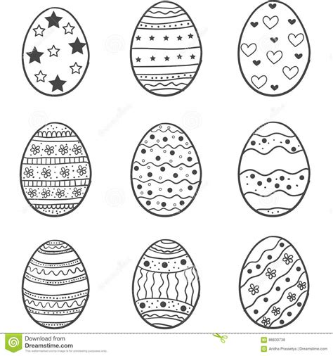doodle how to make egg set of easter egg doodles stock vector image 86630738