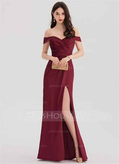 Shoulder Sheath Ruffle Dress sheath column the shoulder floor length satin prom