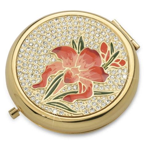 iris gold luxury compact mirror with austrian crystals
