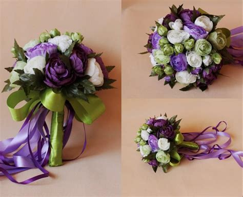 Purple White Bridal Wedding Bouquet 2015 Romantic Cheap
