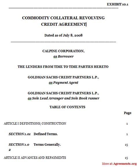 Revolving Credit Agreement Template Commodity Collateral Revolving Credit Agreement Sle Commodity Collateral Revolving Credit