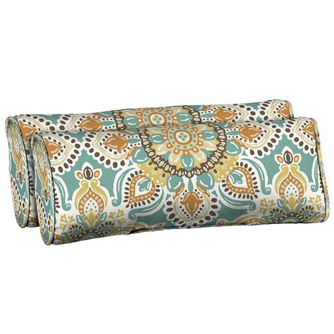 Teal Moroccan Outdoor Patio Chair 2 Lumbar Pillow Cushion Outdoor Patio Lumbar Pillows