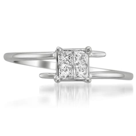 princess cut bypass promise ring 14k white gold 0 33ct