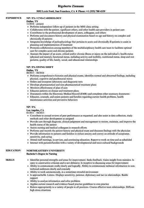 Pa Resume by Np Pa Resume Sles Velvet