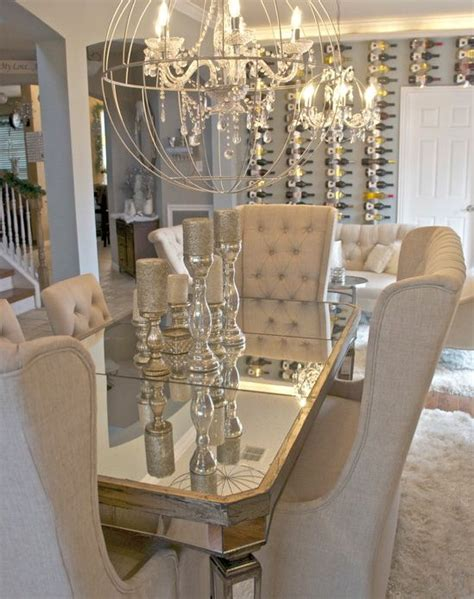 Glam Dining Room Sets Mirrored Dining Table And Orb Chandelier House And Home