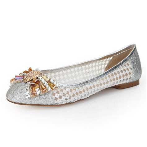 silver glitter flat shoes blossom of free shipping sweet bow silver glitter