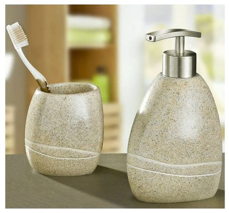 Beige Bathroom Accessories Set Polyresin Modern Bathroom Accessories Set Of 2