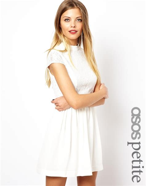 White Neck Dress lyst asos exclusive lace skater dress with high neck in white