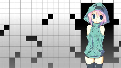 minecraft anime girl wallpaper creeper blue eyes pink hair minecraft anime girls