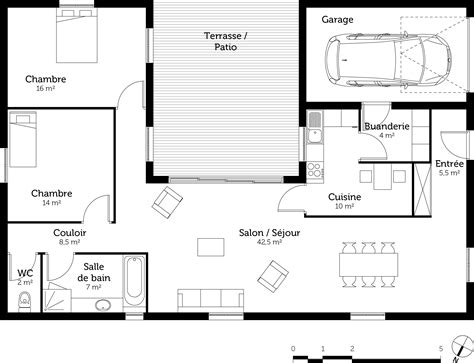 plan de maison avec patio plan maison en u avec 2 chambres ooreka