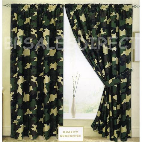Army Camouflage Camo Military Curtains Set 2 Tiebacks