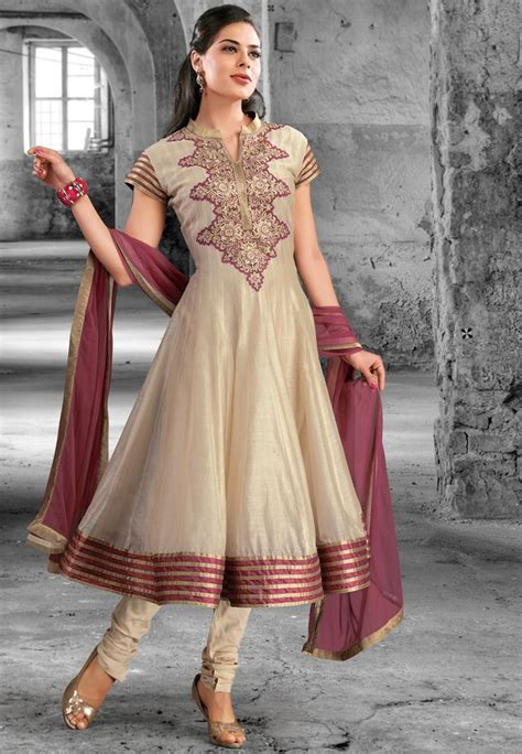 beige cotton silk readymade anarkali churidar kameez shopping kwm4124 your desirables