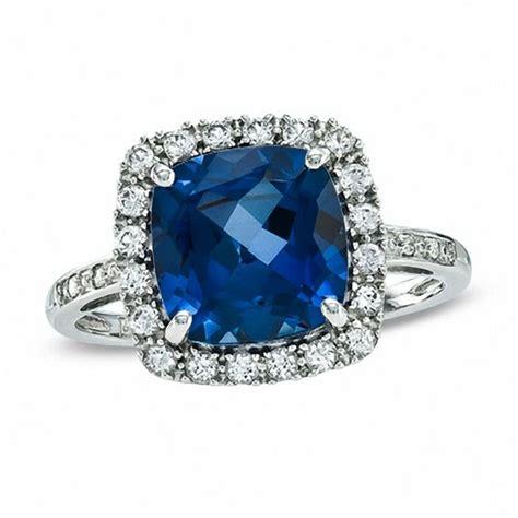 White Sapphire Ceylon 3 cushion cut lab created ceylon and white sapphire ring in