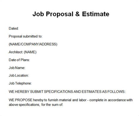 sle job proposal template 12 free documents download