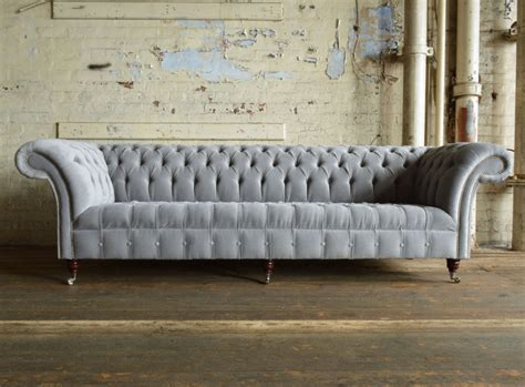 Gray Chesterfield Sofa Naples Silver Grey Velvet 4 Seater Chesterfield Sofa Abode Sofas
