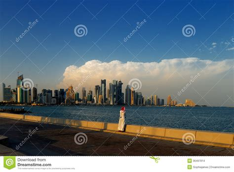 corniche area corniche area of west bay doha qatar stock photo