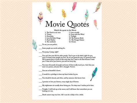 printable bridal shower games movie love quotes movie quote famous love quote game movie game bird feather