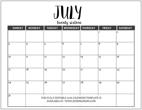 free printable monthly calendar july 2016 july 2016 calendar