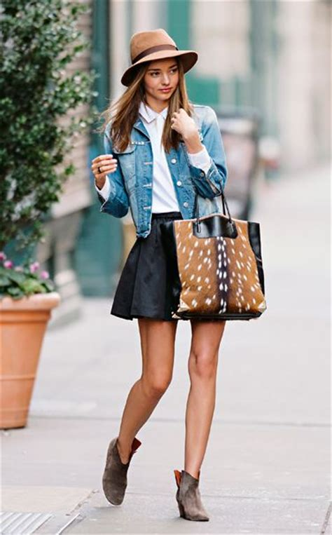 the leather skirt denim jacket and