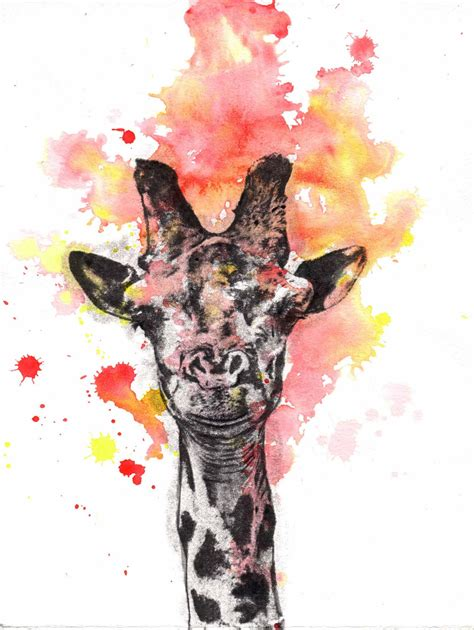 portrait of a giraffe original watercolor painting 8 5 x