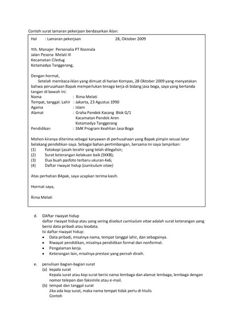 format email lamaran pekerjaan 10 format surat lamaran kerja ben jobs