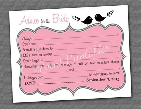 printable bridal shower advice bridal shower mad libs advice for the bride mad lib cards