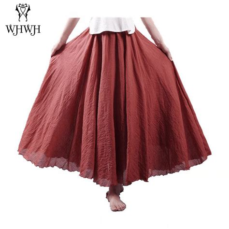 2017 new linen cotton skirts elastic waist pleated maxi skirts boho vintage