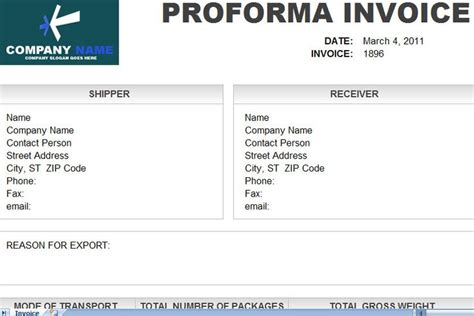 commercial invoice template excel proforma invoice template free