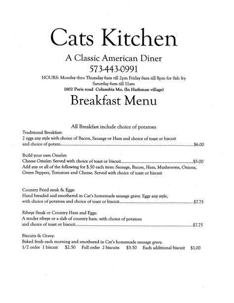 Cats Kitchen Columbia Mo by Cat S Kitchen Menu Menu For Cat S Kitchen Columbia