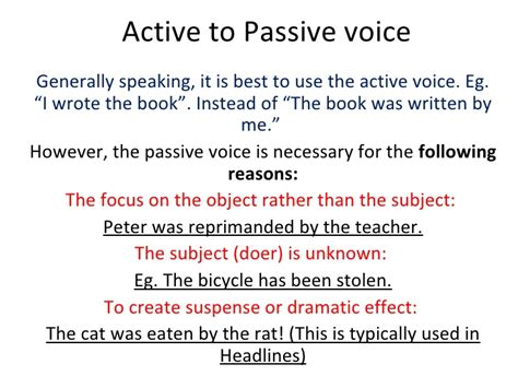 pattern of active voice to passive voice active to passive voice introduction