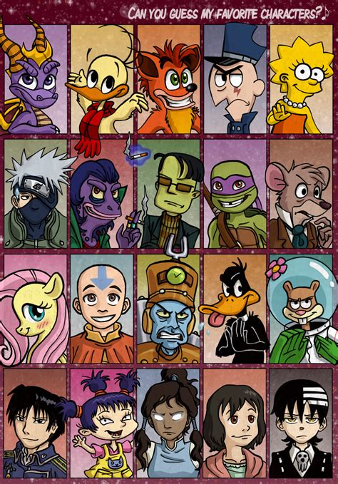 Favorite Character Meme - can you guess my favorite characters by cartoonsilverfox
