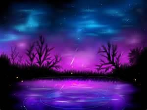 Blue purple night landscape fantasy pink hd wallpaper 1292498