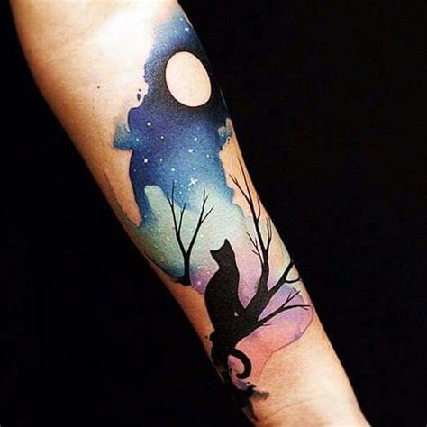 night sky tattoo sky and cat on arm tattoos on