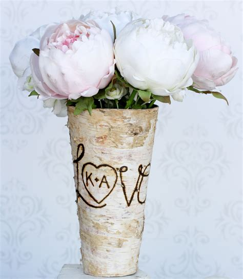 Personalized Vase by Personalized Custom Engraved Birch Wood Vase By Braggingbags