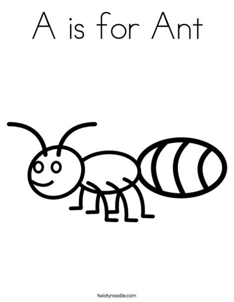 ant coloring page a is for ant coloring page twisty noodle