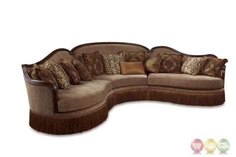 sofas with wood accents giovanna italian light mauve sable sectional sofa with