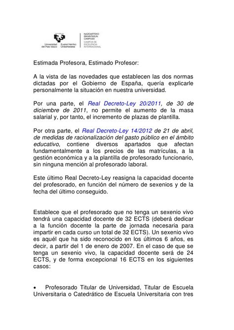 carta para transferencia de universidad carta rector universidad pais vasco real decreto