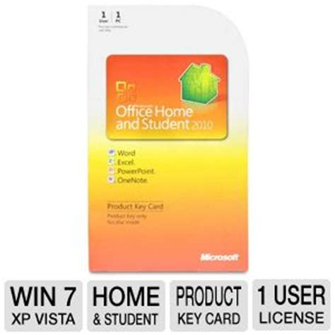 microsoft office home and student 2010 product key card at