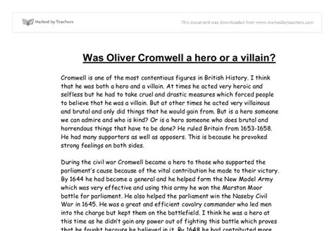 Oliver Cromwell Essay by Oliver Cromell Or Villain Gcse History Marked By Teachers