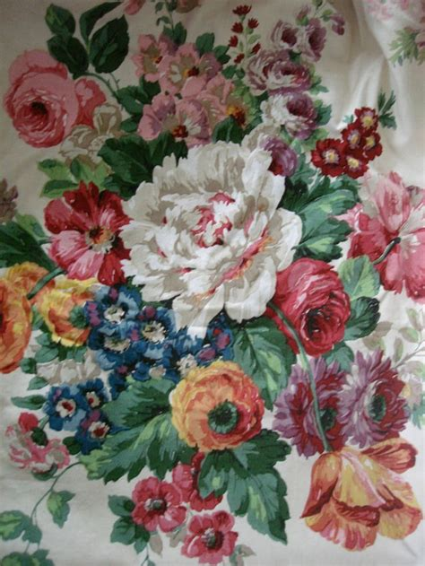 An Antique Notebook Cabbages Roses by Vintage Lined 1940s 1950s Sanderson Curtains Cabbage