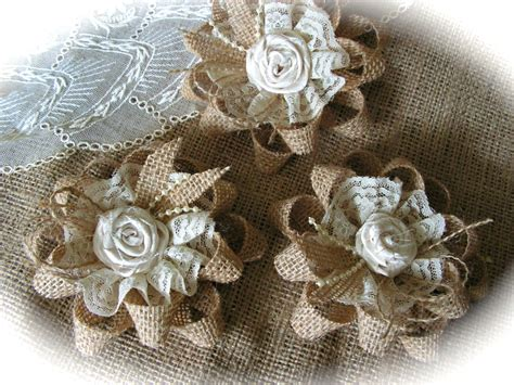 rustic shabby chic burlap and lace flowers wholesale rosettes