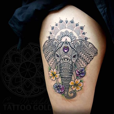 elephant mandala tattoo custom mosaic giraffee by coen mitchell