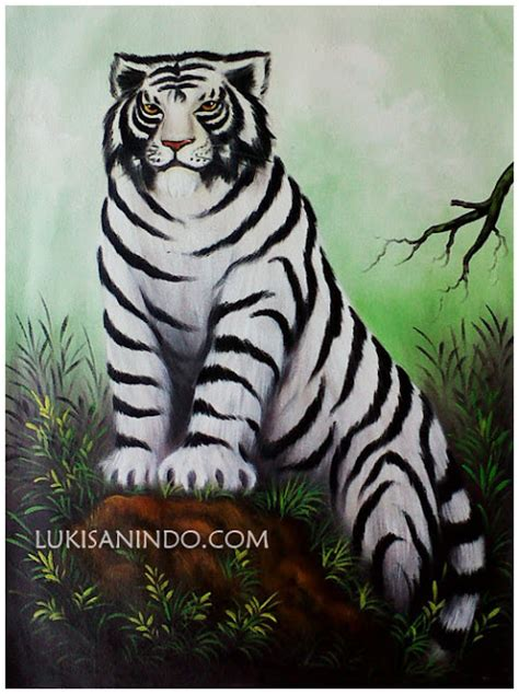 Lukisan Sepasang Burung Jalak Putih 20x50 1 Set Model E jual lukisan murah lukisan macan putih