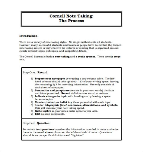 Cornell Note Taking Method Custom Pdf Generator For Mac Harvard Note Taking Template