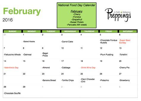 Printable National Day Calendar 2016