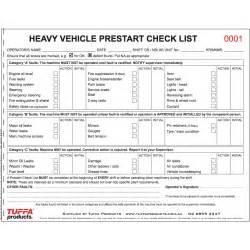 Pre Start Checklist Template by Heavy Vehicle Prestart Books Tuffa Products