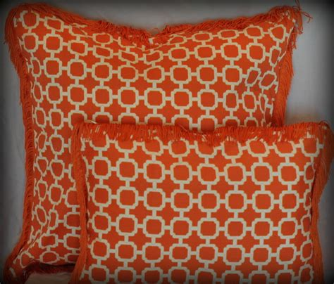 Decorative Trim For Pillows by Orange And White Lattice Pillow With Fringe Trim Modern