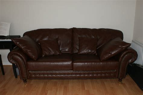High Quality Leather Sofa High Quality Large Leather Sofa On Castors Chestnut Like New Condition For Sale In