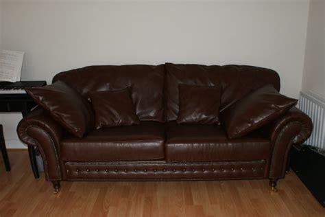 High Quality Large Leather Sofa On Castors Chestnut Like High Quality Leather Sofa